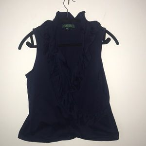 Ralph Lauren Navy Ruffle Tank Top